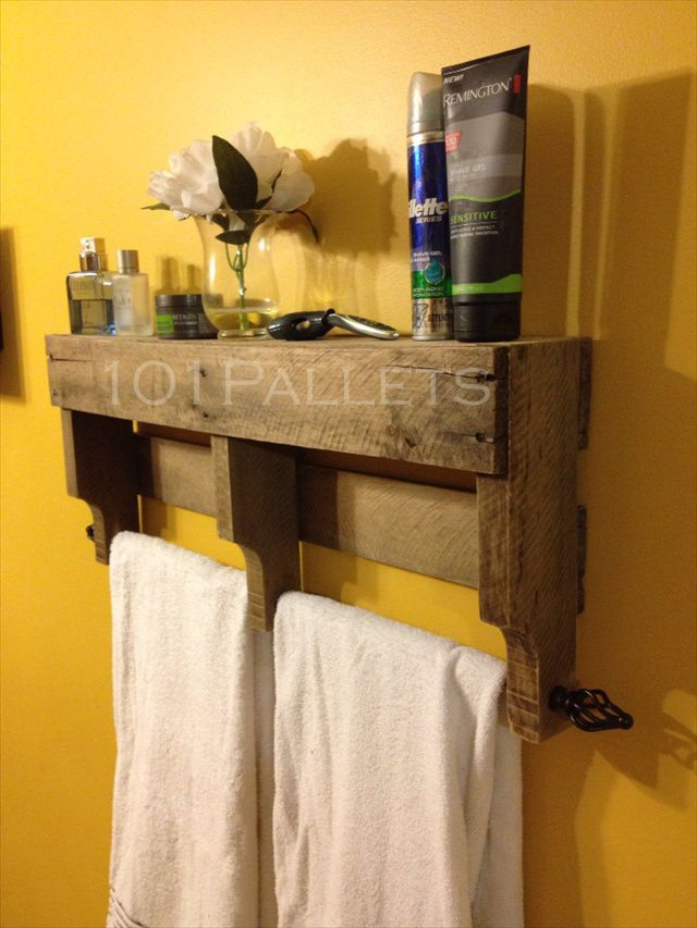 Pallet Towel Rack for Bathroom   101 Pallets   DIY projects to do ...