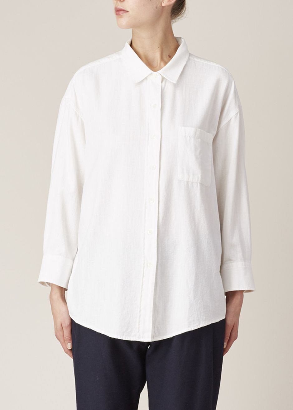 R13 Oversized Cropped Sleeve Shirt (White)