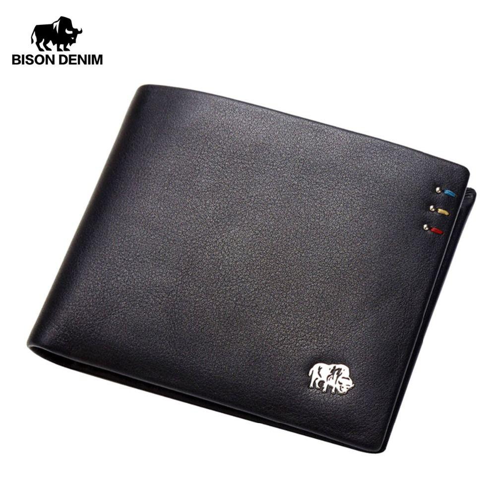 Bison denim business casual wallet men top layer genuine