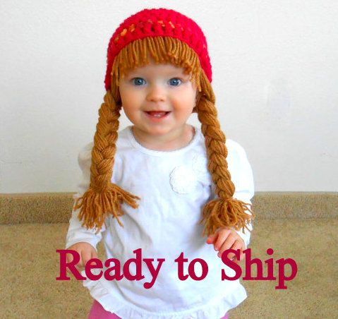 READY TO SHIP- Baby Hat Cabbage Patch Hat Pigtail WIg Costume Photo ...