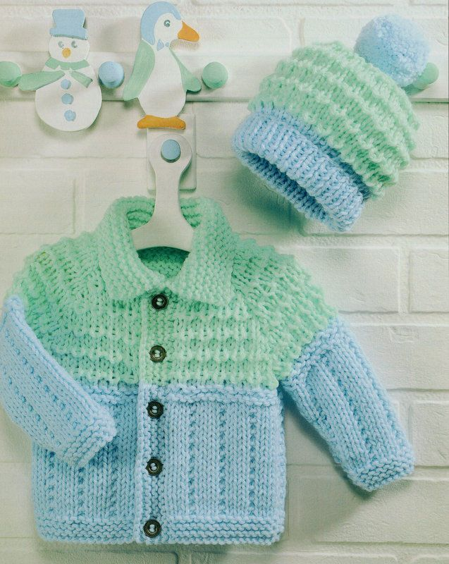 Pdf Baby Childrens Chunky Jacket With Collar Bobble Hat 18 26
