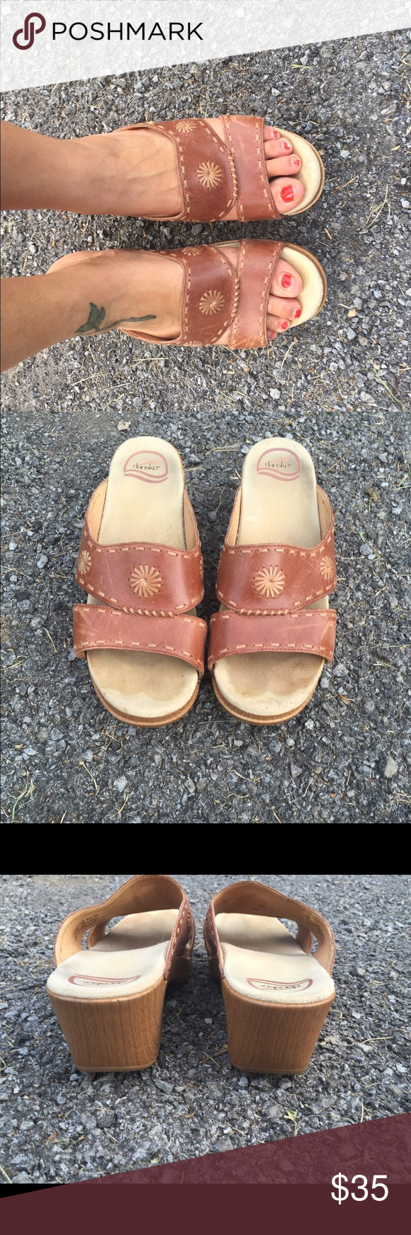 Dansko leather slides Brown leather with lift brown detailing very good condition couple scuffs but can be lightened with leather conditioning .. Dansko Shoes Sandals