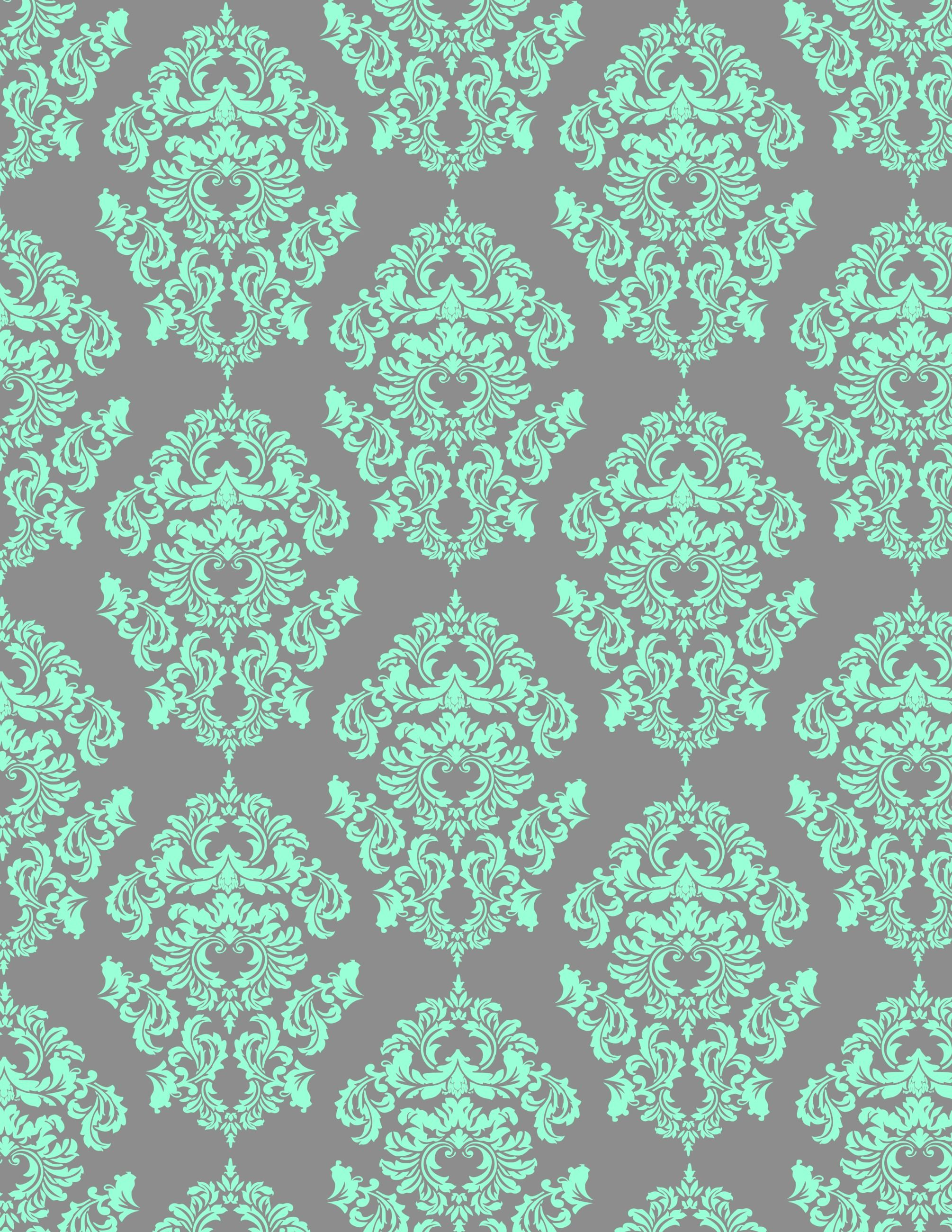 Aqua damask looks great on gray background aqua and for Grey patterned wallpaper