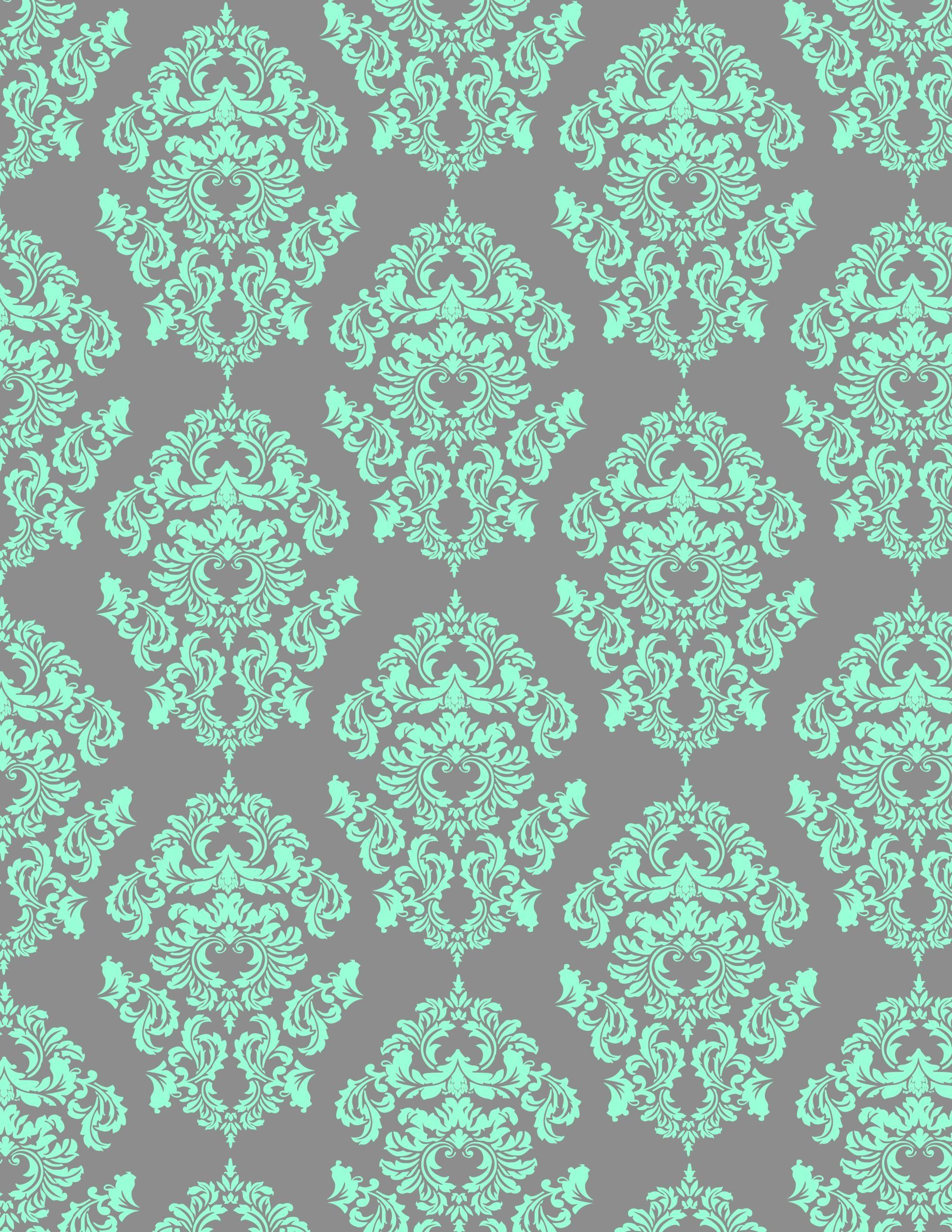 Aqua Damask Looks Great On Gray Background Mint Green Wallpaper