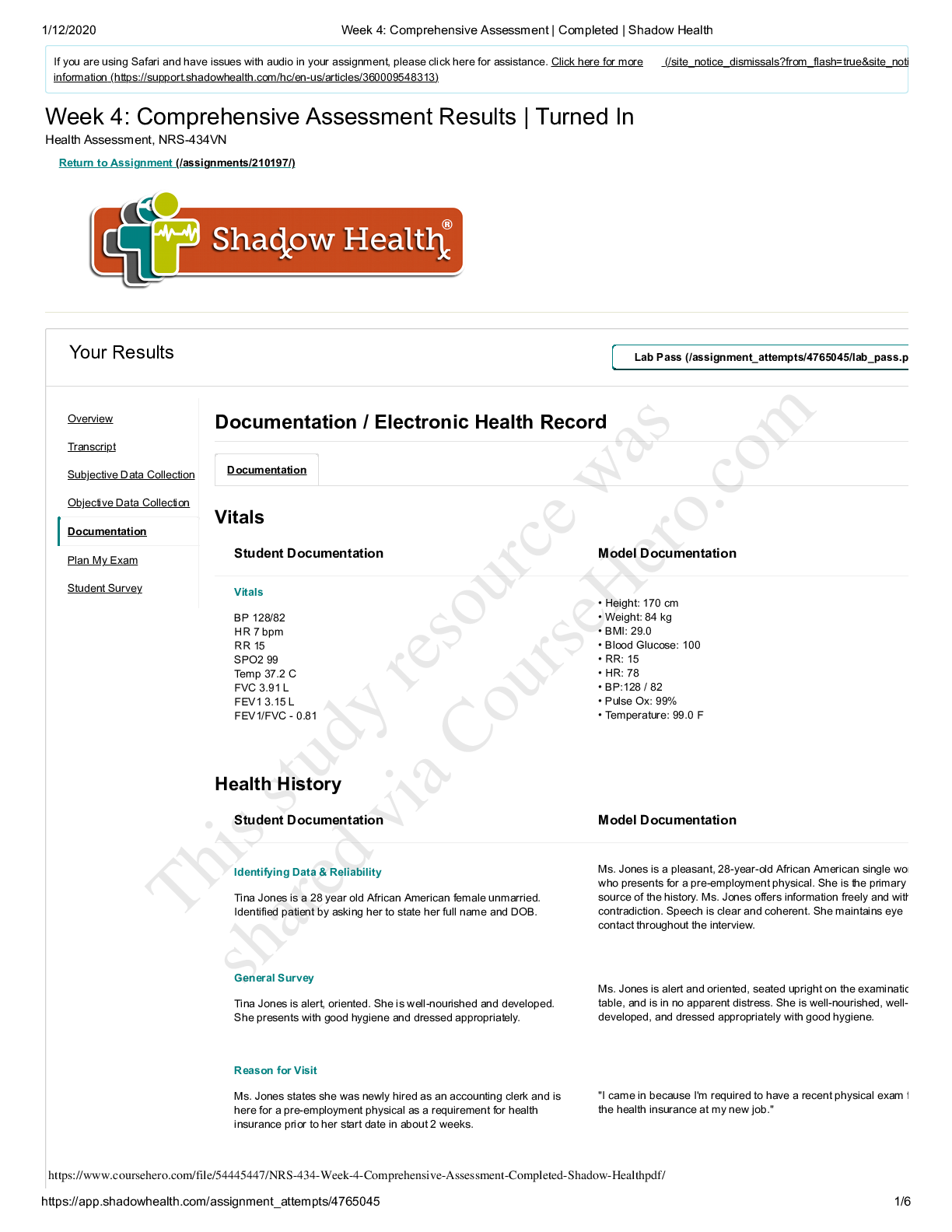Nrs 434vn Topic 4 Assignment Shadow Health Comprehensive Assessment Of Tina Complete Electronic Health Records Class Notes Exam Student