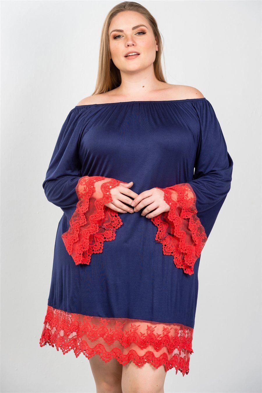 b8bf545d23b Just Viva-Contrast crochet trim hem dress Imported 1XL.2XL.3XL long sleeves