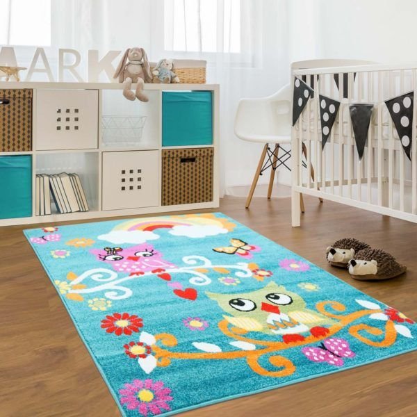 Moda Kids Blue Rug With Owl Pattern This Gender Neutral Area Is Perfect For Nursery Or Room Décor Interior Home