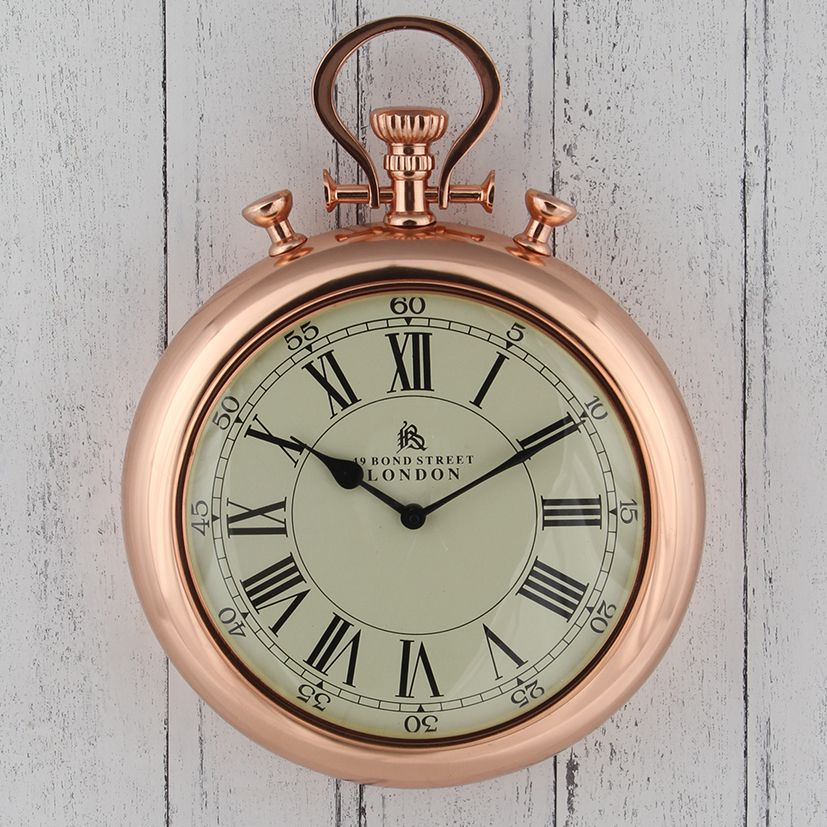 Vinage copper stop watch style wall clock a quirky wall clock in a stop watch design