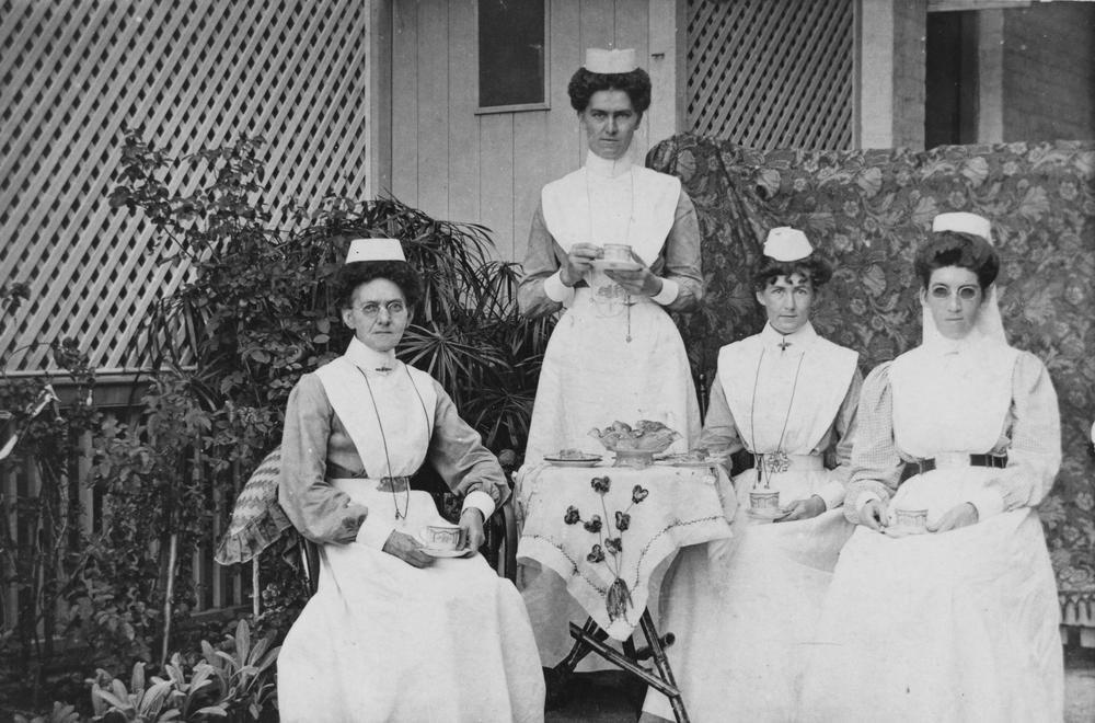 Nurses having tea at St. Helen's Hospital, South Brisbane