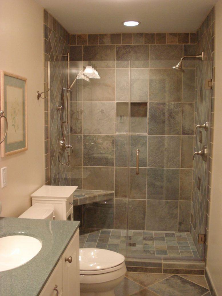 Small bathroom corner shower ideas black color stone wash - Small bathroom designs with tub ...
