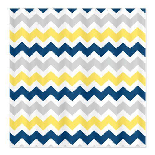 CafePress Yellow Blue Grey Chevron Stripes Shower Curtain