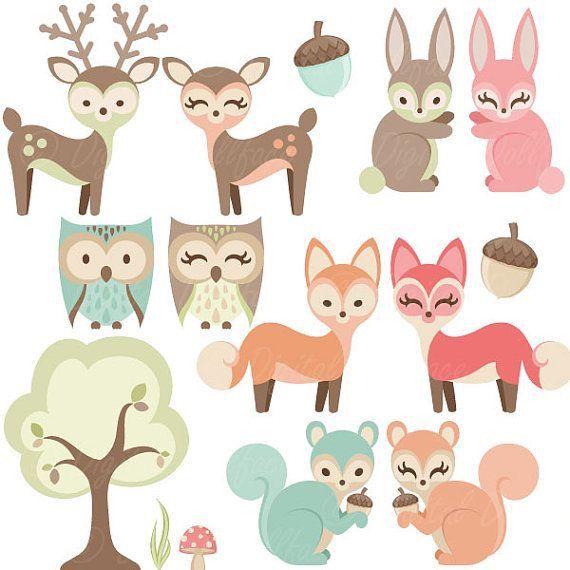 Clipart Baby Woodland Babyzimmer Waldtiere Eichhornchen Babytiere Waldfreunde Kinderzimmer Deko Ideen