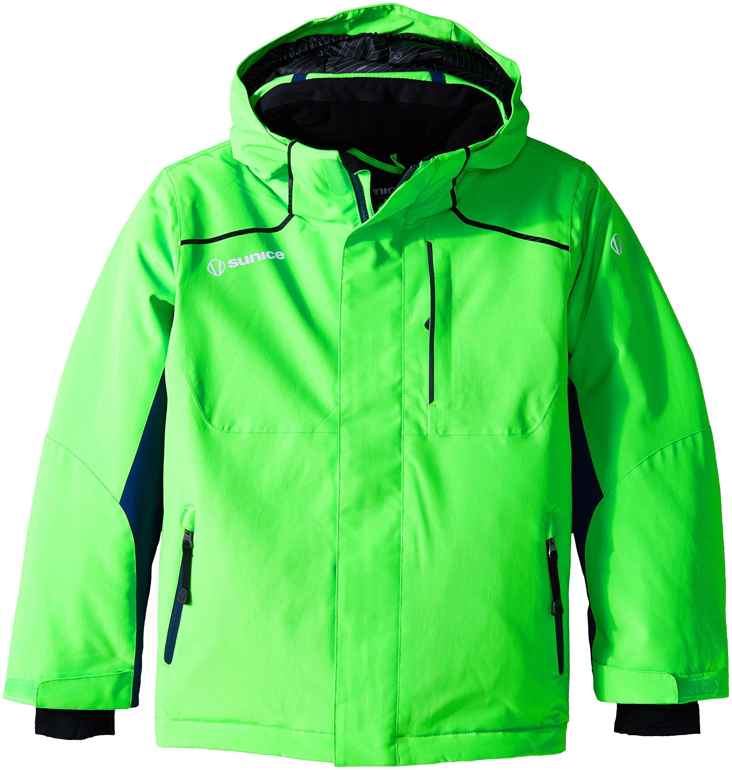 Sunice Boys Junior Volt Technical Jacket Flash Green Midnight 8 Snow Wrist Lycra Cuffs With Thumbhole To Help Ke Coats Jackets Women Jackets Athletic Jacket [ 2560 x 2433 Pixel ]
