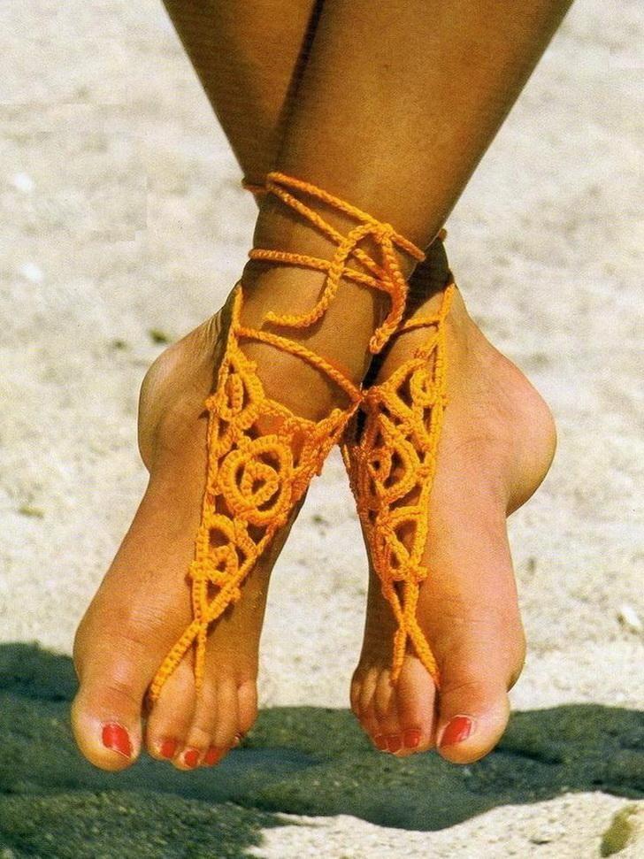 Sandalias descalzas (2) con esquema. / Crochet Barefoot Sandals Free ...