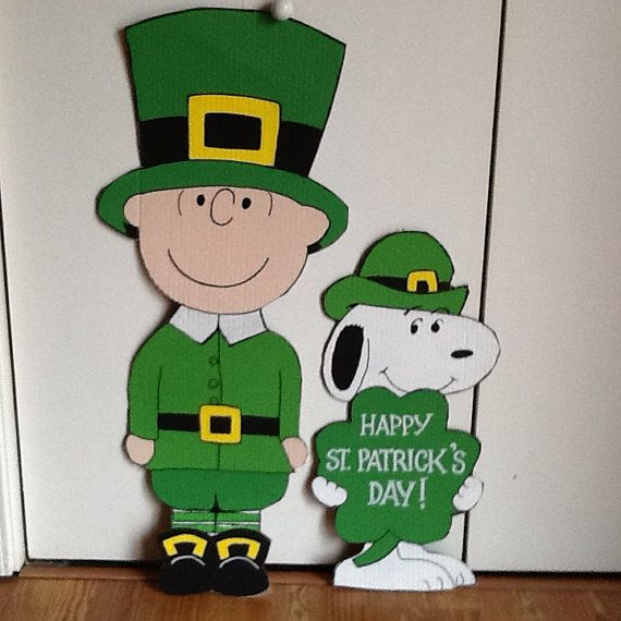 Hand Painted  Charlie Brown and Snoopy Happy St. by sweetpeapaint