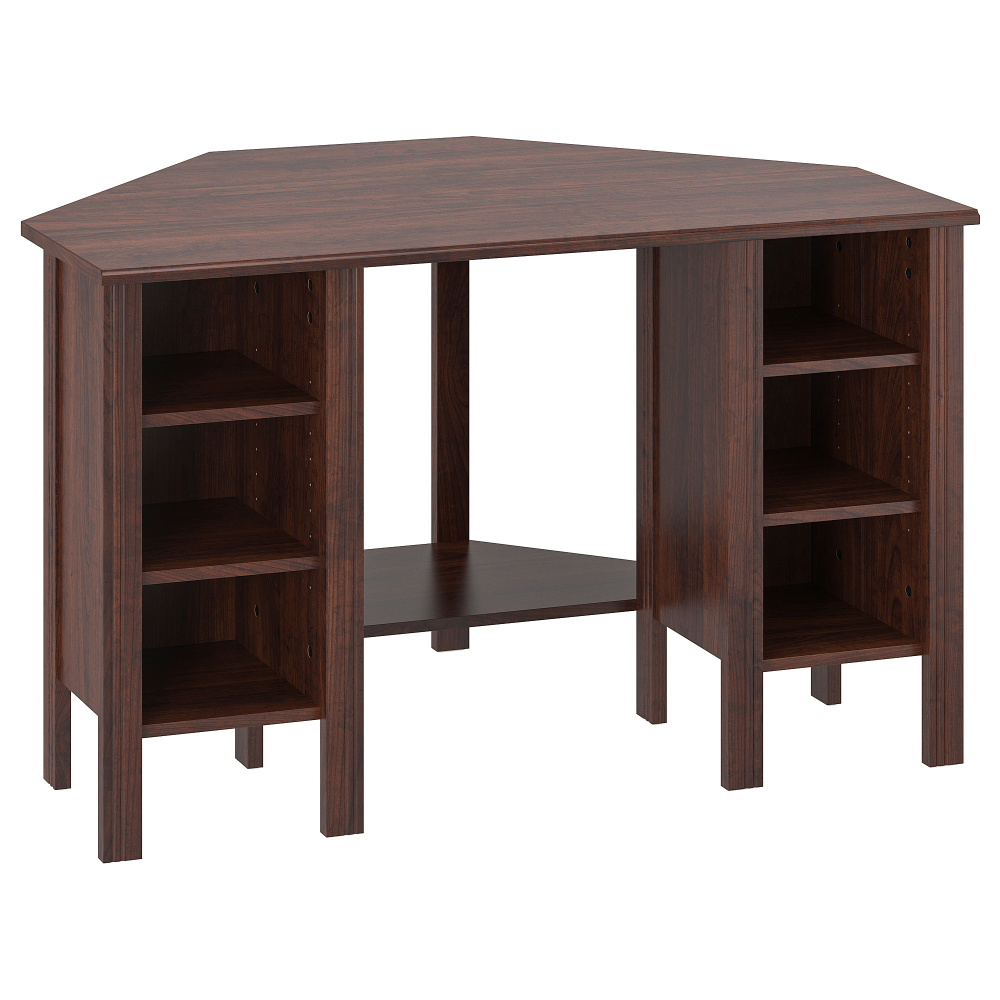 Ikea Brusali Corner Desk Brown You Can Customize Your Storage As Needed Since The Shelves Are Adjustable Corner Desk Ikea White Desk Ikea Desk