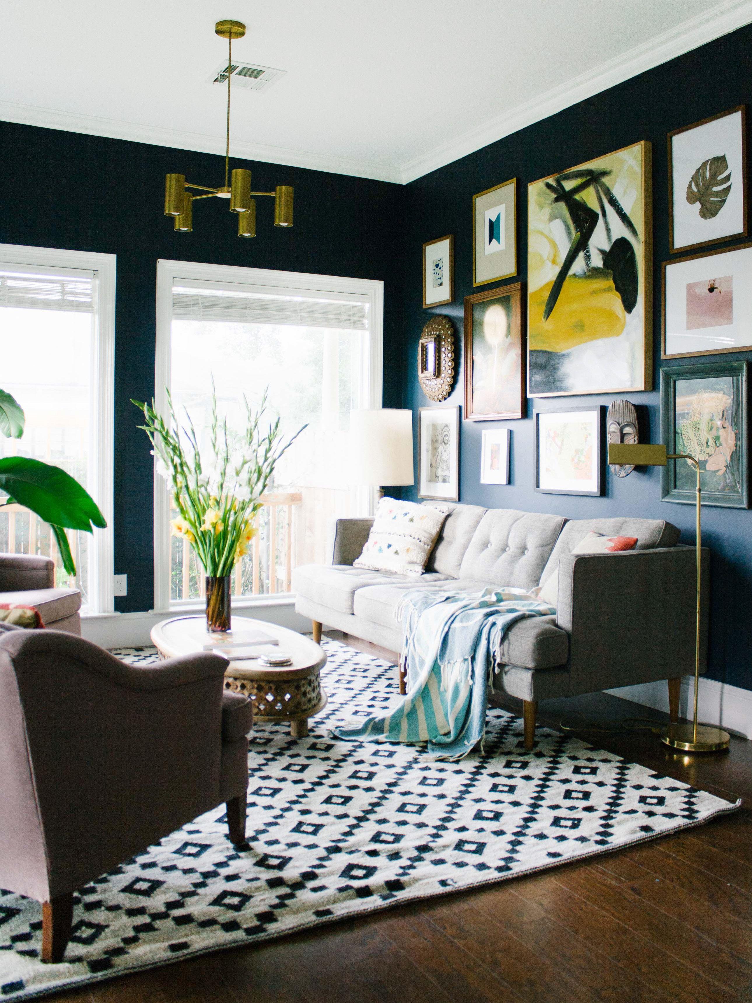 Latest bedroom interior design trends getthemidcenturymodernlookforless  dark walls art walls