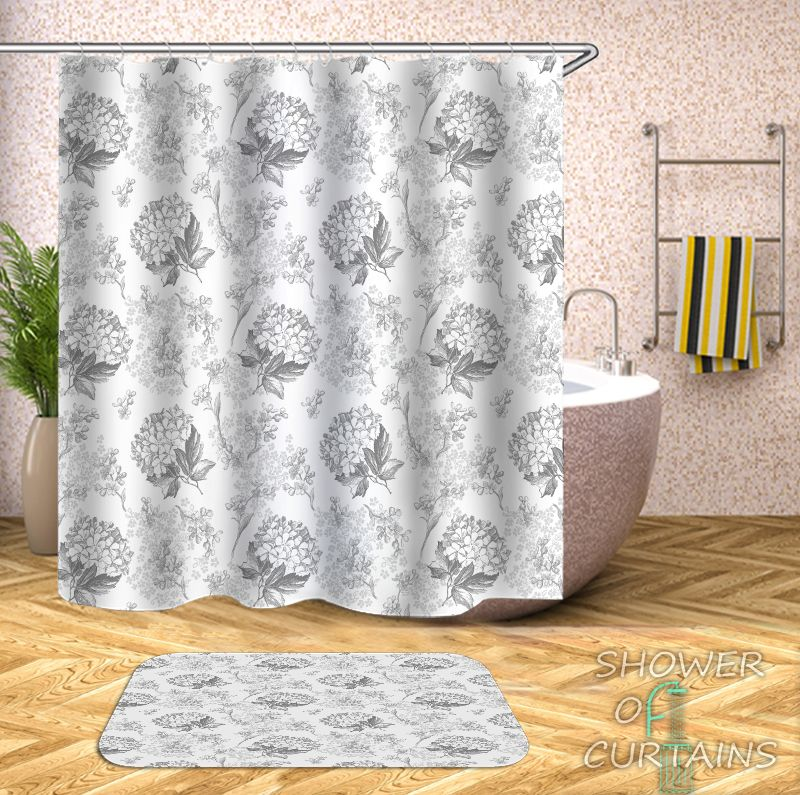 Flower Bouquets Black And White Shower Curtain - HXTC0326