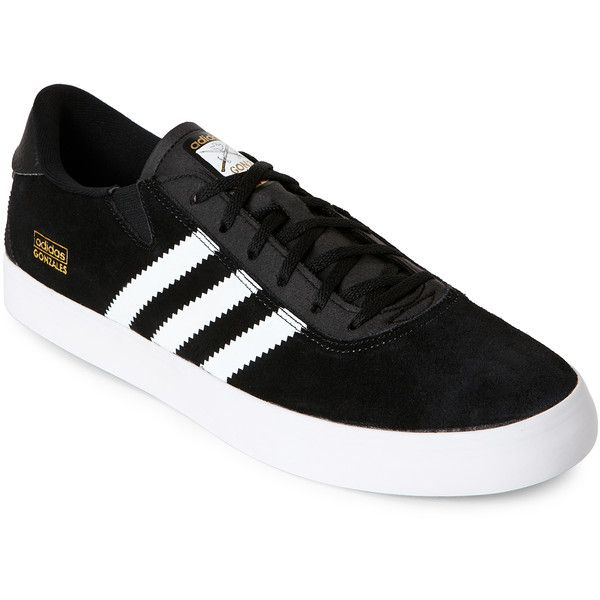 b5d9c2b955cdcf Adidas Black   White Gonz Pros Skateboarding Sneakers ( 37) ❤ liked on  Polyvore featuring