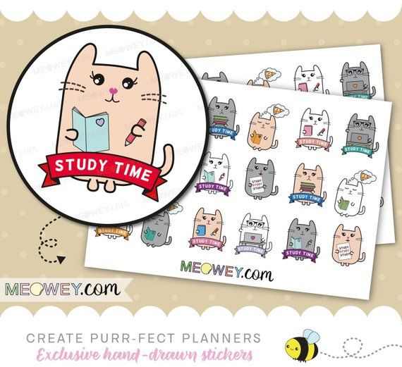 study homework learning planner stickers cute kawaii kitty studying