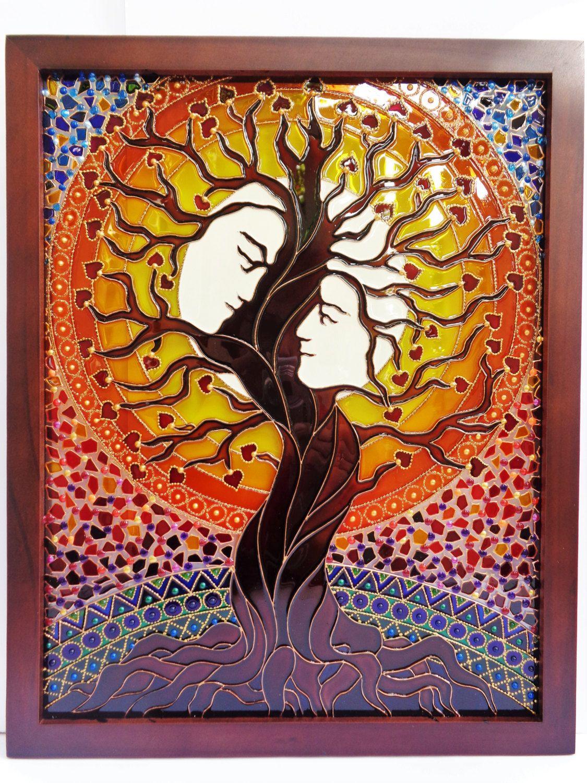Tree Of Love Art Glass Painting Tree Of Life Family Tree Painted Glass Wall Art Spiritual Art Wedding Gift Family Tree Painting Tree Painting Glass Painting Designs