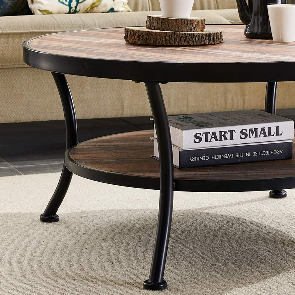 A Stylish Industrial Or Farmhouse Style Round Coffee Table That You Can Purchase In A Matchi Round Living Room Table Coffee Table Industrial Style Coffee Table [ 1000 x 1000 Pixel ]