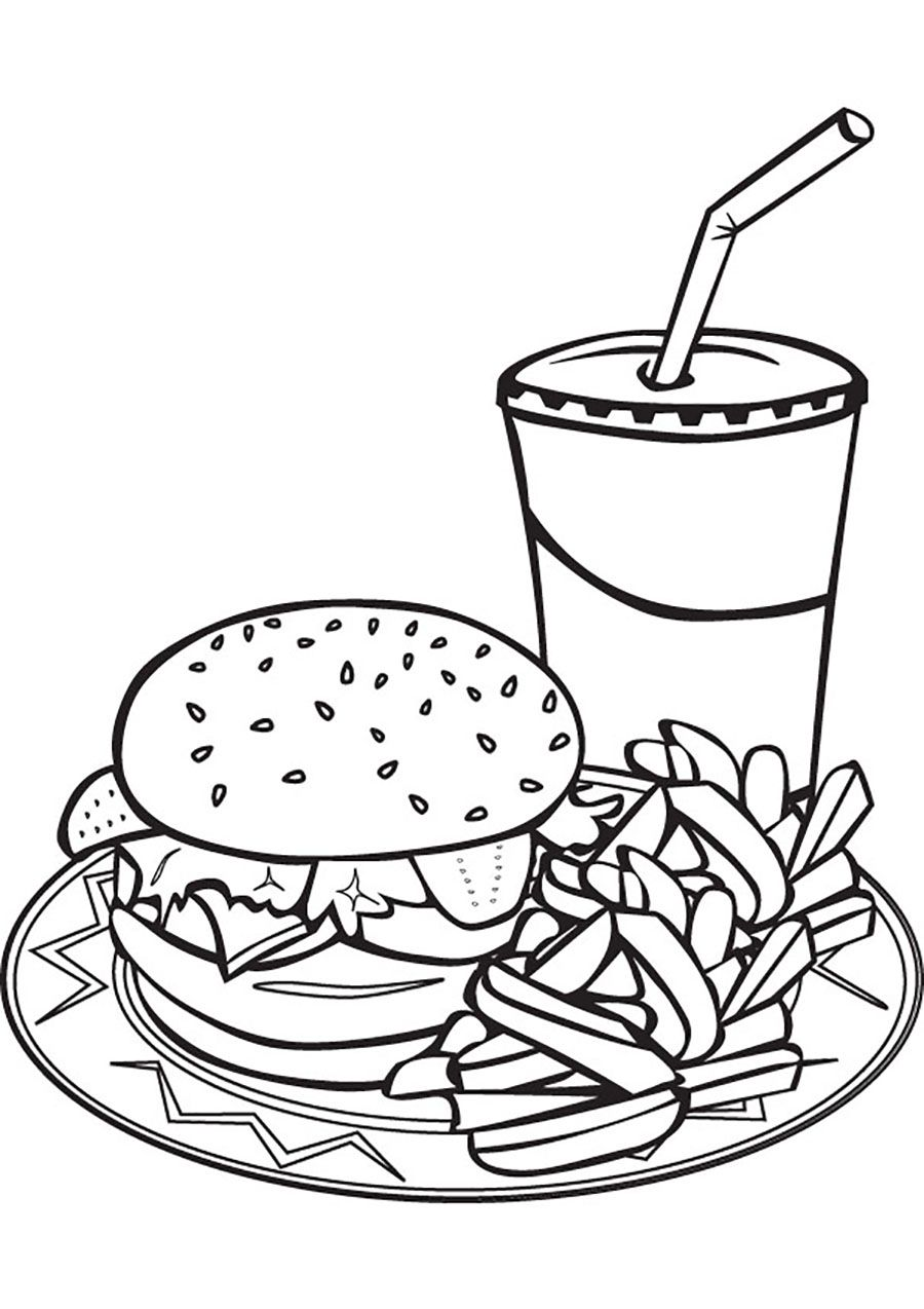 Food Hamburgers And Ice Juice Coloriage Dessin Hamburger Dessin Repas