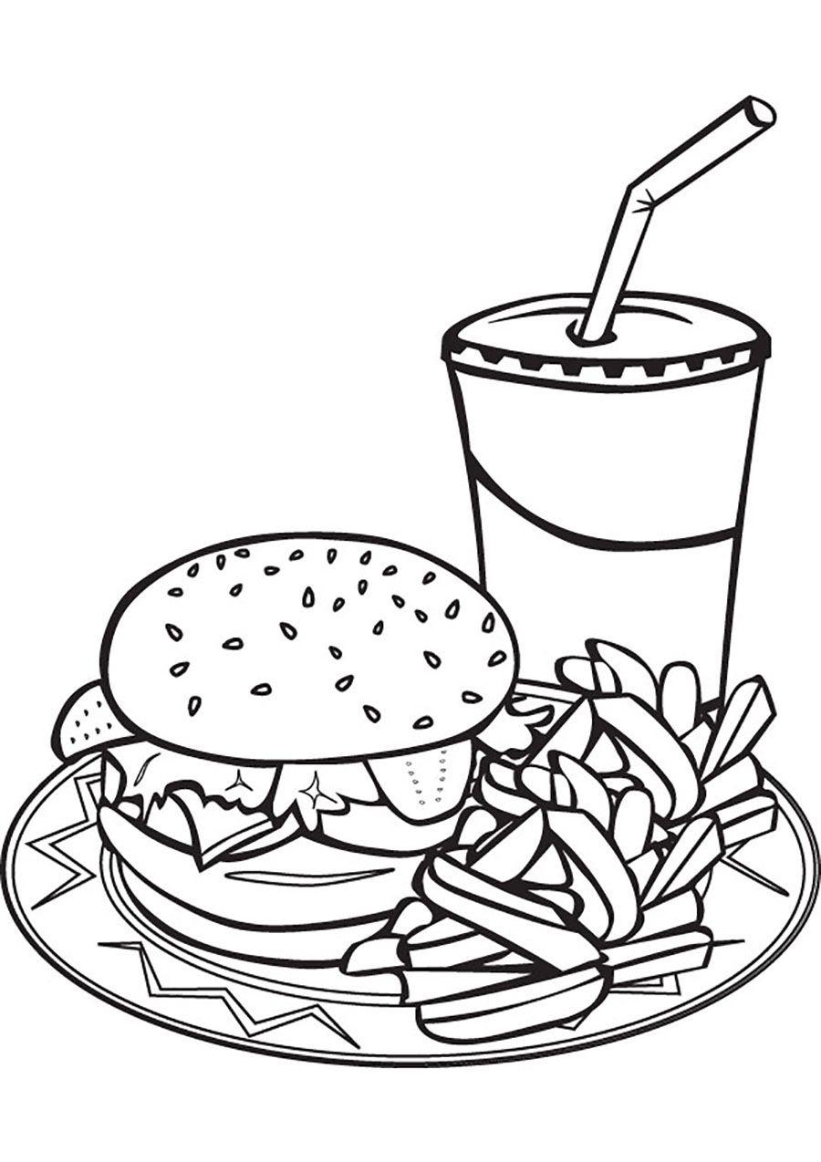 Food Hamburgers And Ice Juice Coloriage, Dessin