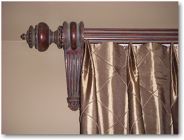 doubletuck toppleated drapery with wood poles brackets and finials from paris