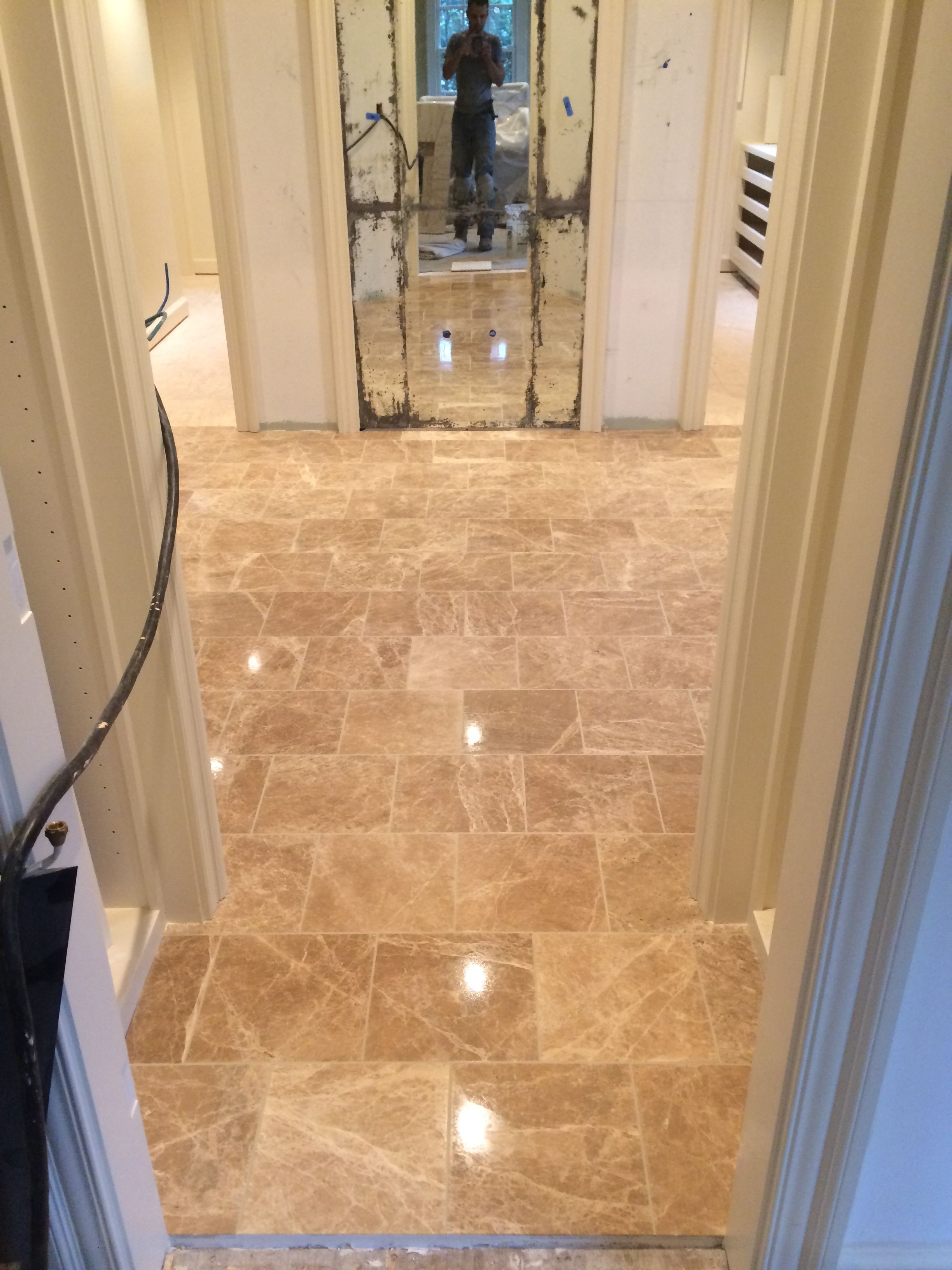 The Classiness Of A Great 12x12 Polished Marble Installation Over Mud Floor With Heat Cable Turned Out Beautiful And Shiny As Glass Flooring Home Installation
