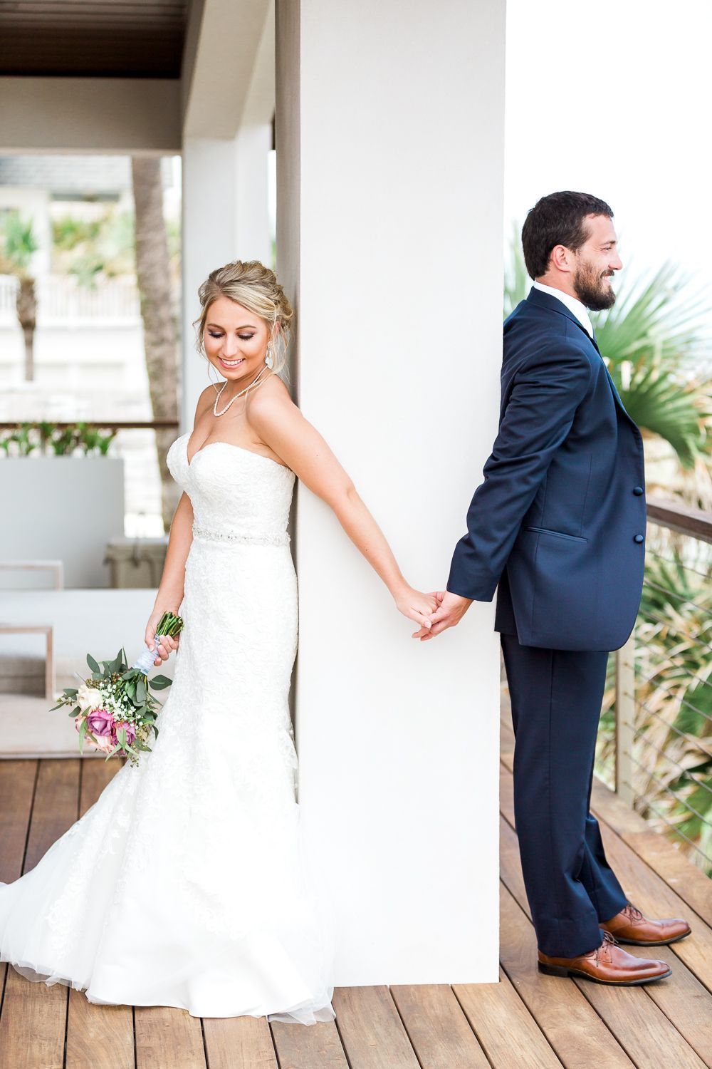 Beach wedding mother of the bride  First look picture ideas bride and groom holding hands without