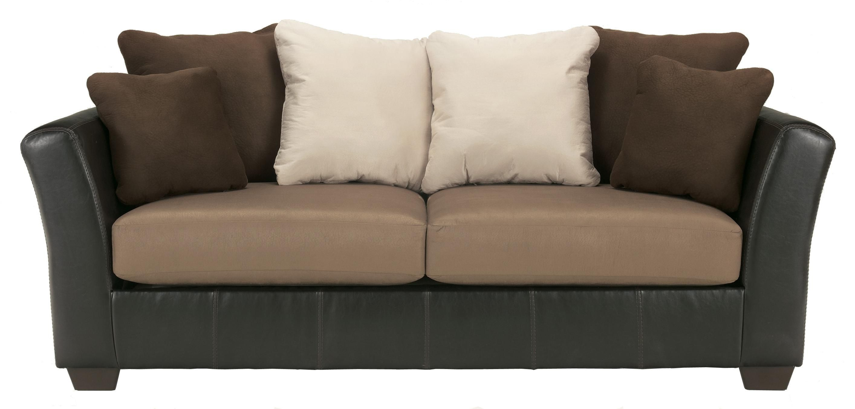 Best Masoli Mocha Faux Leather Fabric Sofa With Loose Back Pillows By Benchcraft Michael S 400 x 300