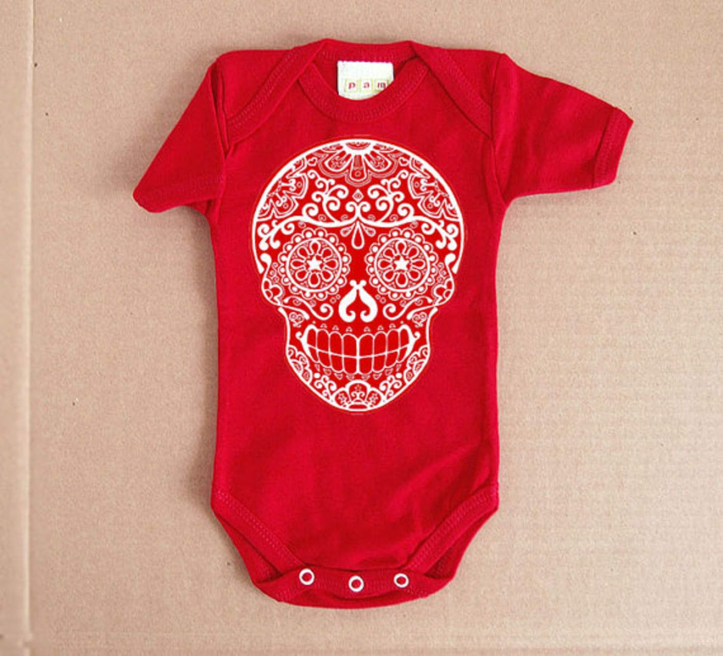 Red Sugar Skull Baby Clothes. 3 or 6 months. Day of the
