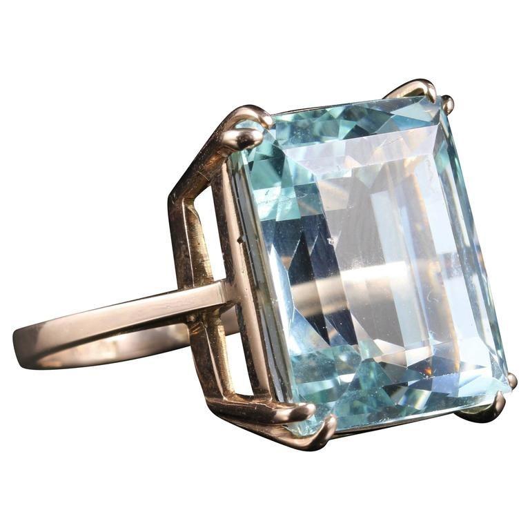 d6af73b4e158d Antique Art Deco Aquamarine Gold Ring 30 Carat Aquamarine Emerald ...