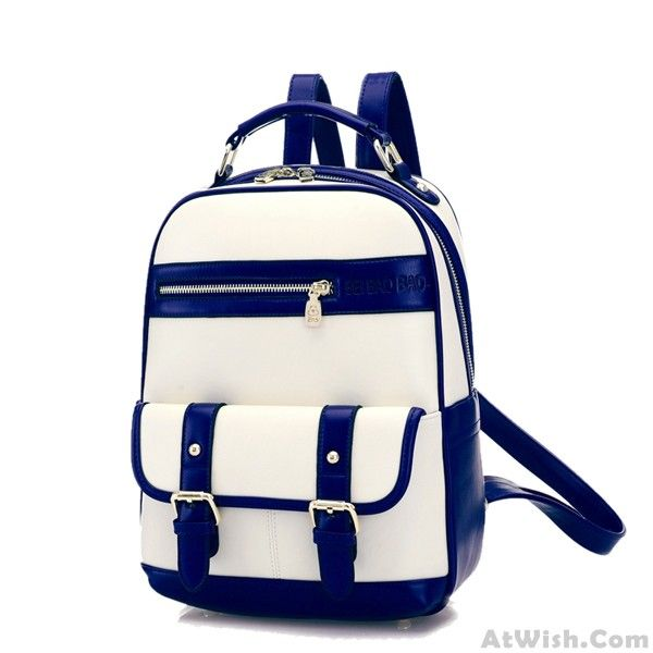 Wow~ Awesome College Double Hasp Zipper Mixed Color Travel Backpack School Bag! It only $45.99 at www.AtWish.com! I like it so much<3<3!