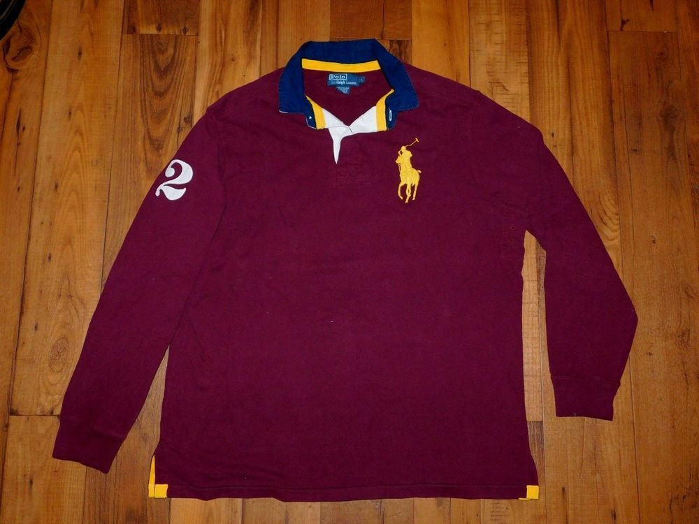 POLO RALPH LAUREN Big Pony Rugby Shirt Long Sleeve Maroon Mens LARGE  longsleeve  PoloRalphLauren  PoloRugby 57fe32a9742cc