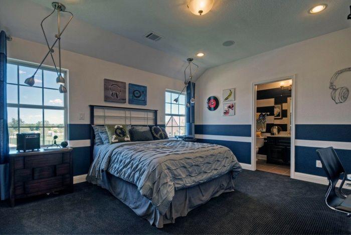 Streifen Wandgestaltung blaue Streifen Ideen | Kinderzimmer ...