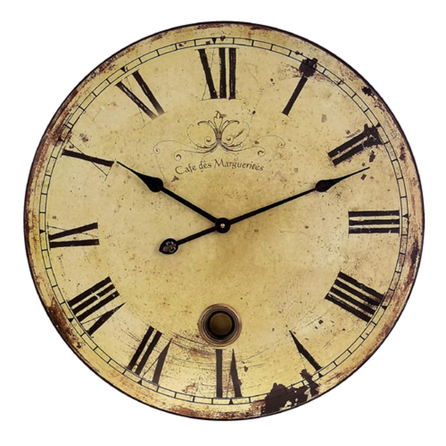 23 Trendy French Café Weathered Cream-Colored Large Wall Clock ...
