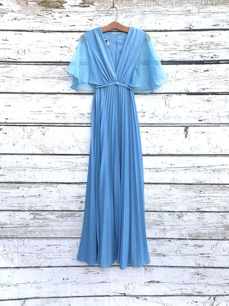 Vintage 60 S 70 S Prom Dress Empire Waist Pleated Etsy In 2021 70s Prom Dress 70s Prom Maxi Dress Prom