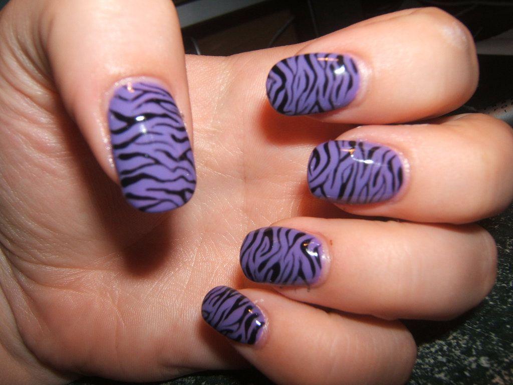 Purple zebra gel nails   Ehlers Danlos Syndrome   Pinterest