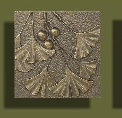 Details About Arts And Crafts Bronze Tone Gingko Tile By Whitehall 8 Quot X 8 Quot With Images Art