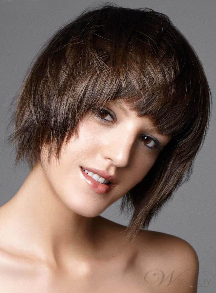 Best Smooth Carefree Short Straight 100% Real Human Hair Wig 8 Inches