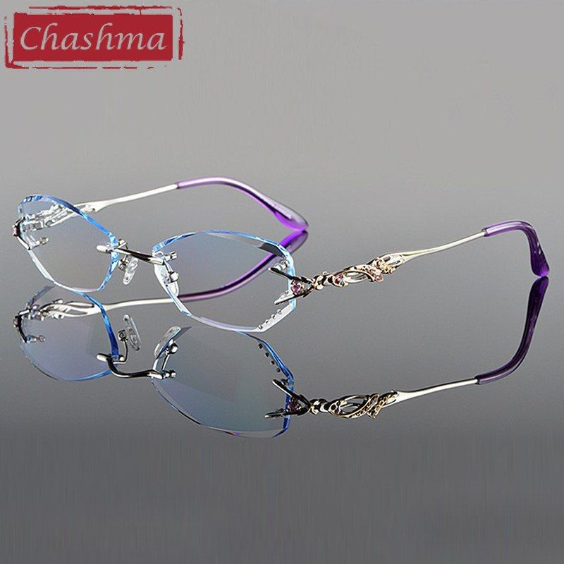 e128d8f0efe Chashma Luxury Tint Lenses Myopia Glasses Reading Glasses Diamond Cutting  Rimless Prescription Glasses for Women