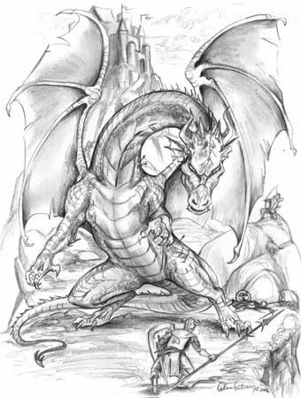 Dragon Drawing By Andrew Keith On Tattoo Dragon Coloring Page