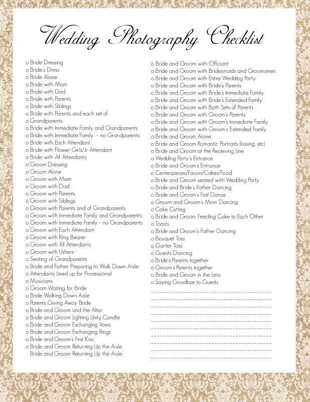 photo checklist my wedding photography in 2018 pinterest