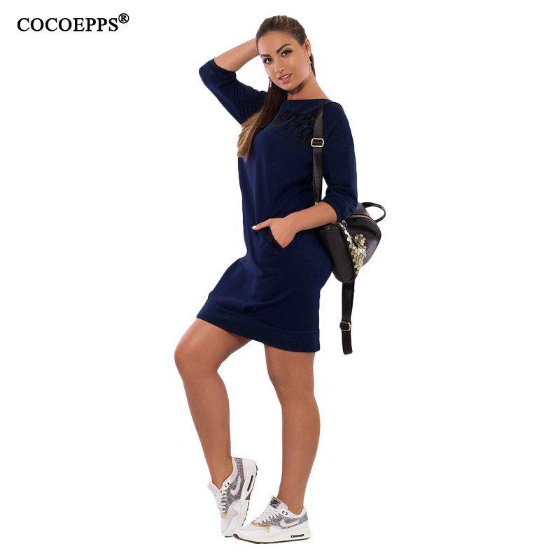 2017 5xl 6xl Letter Print New Women Dresses Large Size Winter Warm Dress  Plus Size women Clothing Casual Elegant Blue vestidos  b206d4f9584a