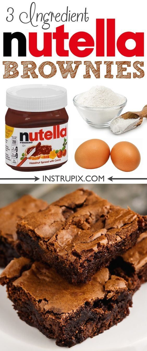 Easy Homemade Nutella Brownies Recipe made from scratch with just 3 ingredients Super moist and fudgy