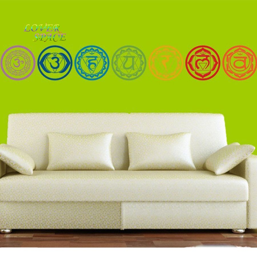 Pcsset Chakras Vinyl Wall Stickers Mandala Yoga Meditation - Wall vinyl stickerswall vinyl designs home design ideas