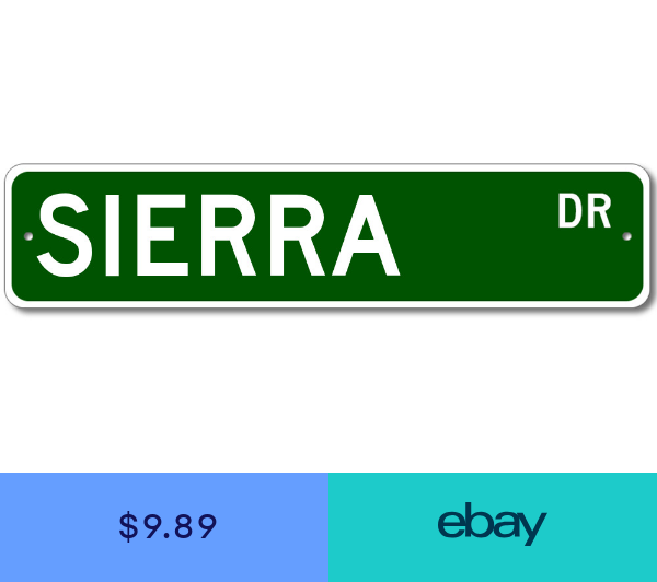 Sierra Drive Street Sign Personalized Custom Last Name Metal Sign Aluminum Personalized Signs Street Signs Custom Street Signs