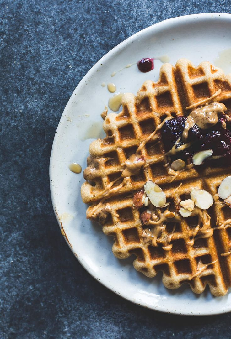 Brown Rice Flour Waffles with Almond Butter & Jam Recipe